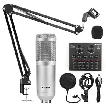 bm 800 Karaoke Microphone Studio Kits bm800 Condenser Microphone for Computer Recording Sound Card Voice Changer Phantom Power bm 800 condenser microphone kits professional bm800 adjustable studio microphone bundle karaoke microphone recording broadcast