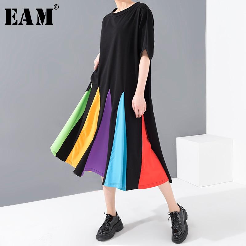 [EAM] Women Black Colorful Hem Split Big Size Dress New Round Neck Short Sleeve Loose Fit Fashion Spring Summer 2020 1U50601