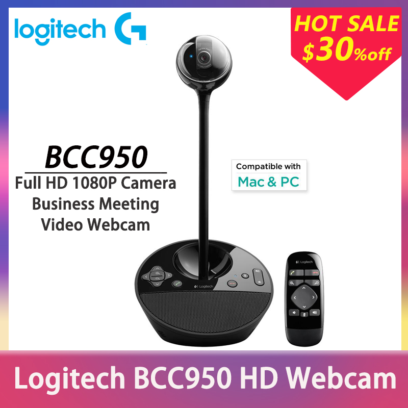 Logitech Webcam Full HD Camera BCC950 Business Meeting 1080P USB Camera for Private Offices Home Conference Desktop Video Webcam