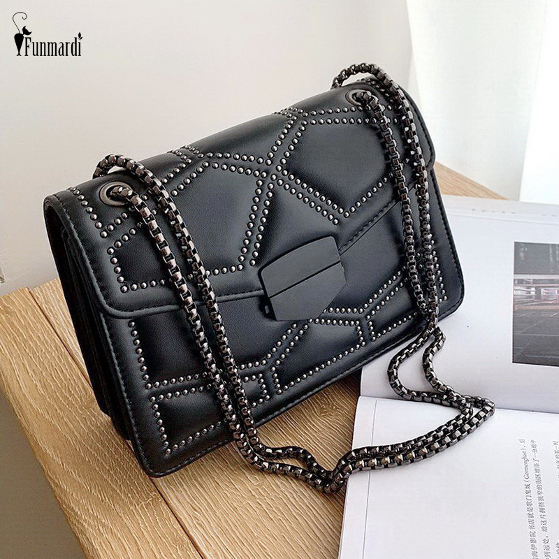 FUNMARDI Rivet Chain Small Crossbody Bags For Women Shoulder Bags 2020 New PU Leather Messenger Bags Flap Lady Handbags WLHB2156