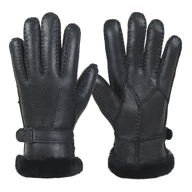 High-quality Sheepskin Man Really Sheepskin Cotton Glove Thickening Keep Warm Windbreak Keep Out The Cold Part Finger Glove