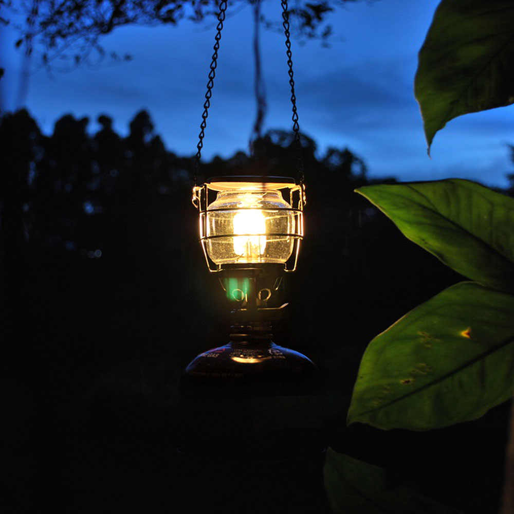 Mini Portable Camping Lantern Gas Light Tent Lamp Torch Hanging Glass Lamp Chimney Butane 100LUX