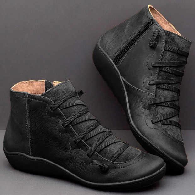 NAUSK 2019 ผู้หญิงใหม่ Natrual หนัง Casual รองเท้าข้อเท้ารองเท้าสบายนุ่มทำด้วยมือแบนรองเท้าสีฟ้าสีดำ Martin Martin Boots