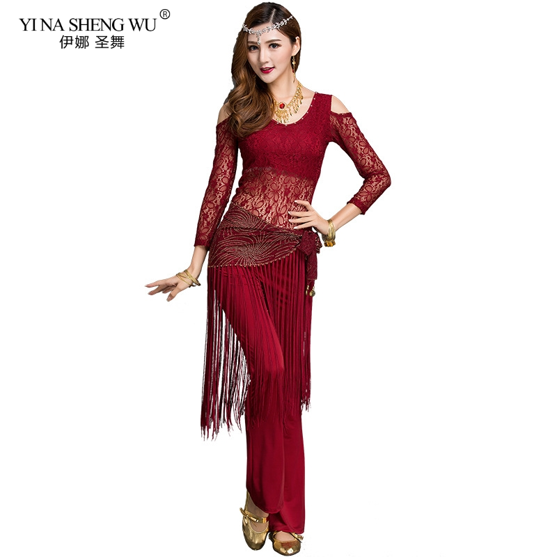 Women Belly Dance Costume Practice Wear Oriental Bollywood Indian Hip Scarf Top Pant Belt Stage Wear Training Wear Long Sleeves