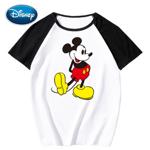 Disney Stylish Mickey Mouse Cartoon Print Contrast Color Unisex T-Shirt O-Neck Pullover Short Sleeve Tee Tops XS - 3XL 14 Colors