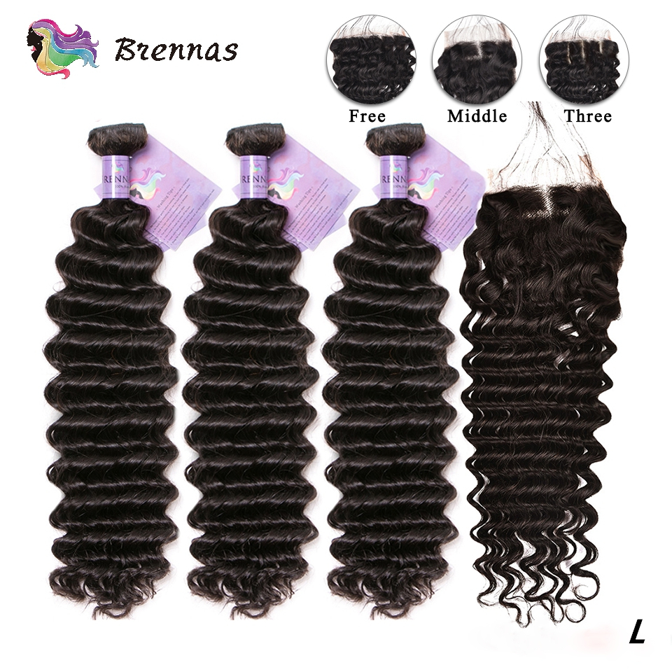 Deep Wave Hair Bundles With Closure Brazilian Hair With 4x4 Lace Closure Non Remy Hair Bundles With Closure Natural Color Low R