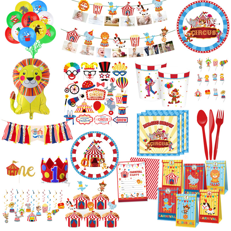 Цирк карнавальный для маленьких мальчиков День рождения украшения животных шар бумажные стаканчики и тарелки Baby Shower одноразовые столовые ...