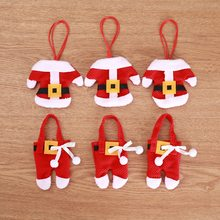 1 Set Mini Christmas Clothes + Pants Fork Knife Cover Christmas Home Decorations Tableware Holder Bag New Year Xmas Party Decor(China)
