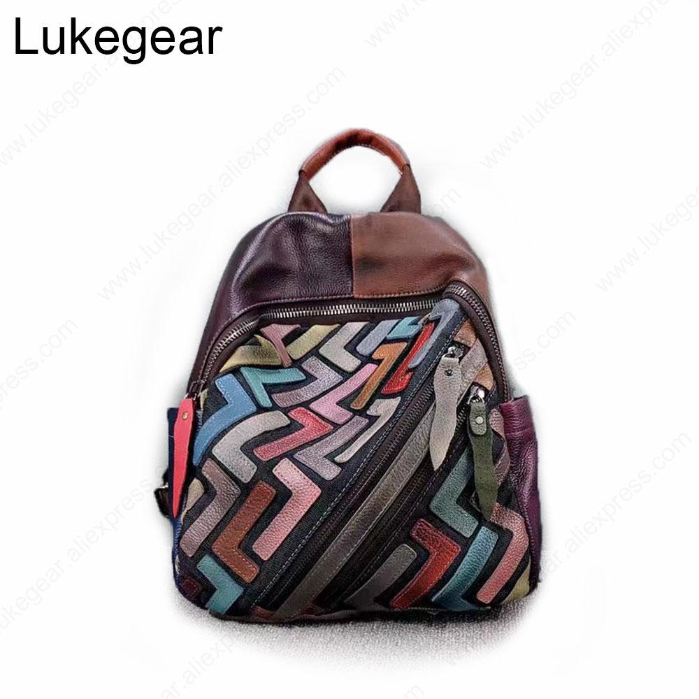 Lukegear Cow Leather Women Backpack Softback Zipper Backbags Vintage Style Genuine Leather School Bags