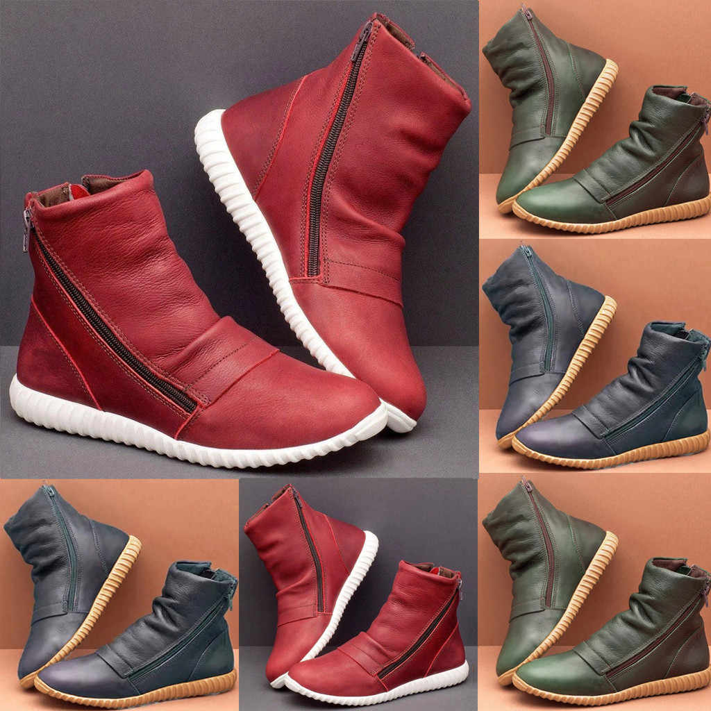 2020 Spring Winter New Women's Casual Flat Leather Retro Boots Side Zipper Round Toe Shoes Boots Comfortable shoes women #O31
