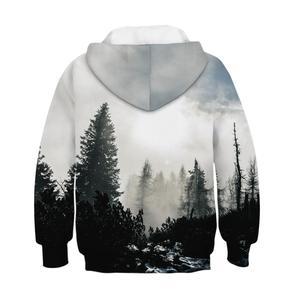 Image 2 - Czarny biały las 3D bluzy z nadrukiem dla nastoletnie dziewczyny chłopcy bluza z kapturem dla dzieci bluza z kapturem jesień zimowa odzież dziecięca sweter