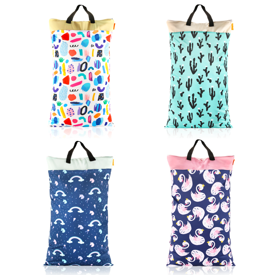 HappyFlute Polyester PUL Waterproof Baby Bags For Mom Baby Stroller Use 40*70cm Big Size Double Packet Diaper Wet Bag