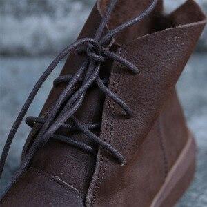 Image 3 - Женские ботильоны на шнуровке, Осенняя обувь из натуральной кожи, Нескользящие ботинки на резиновой подошве, 2018(9738)
