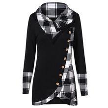Women Shirt Plaid Turtleneck Tartan Tunic Sweatshirt Button irregular Pullover Tops Long Sleeve Lady Tops tee shirt femme NEW(China)