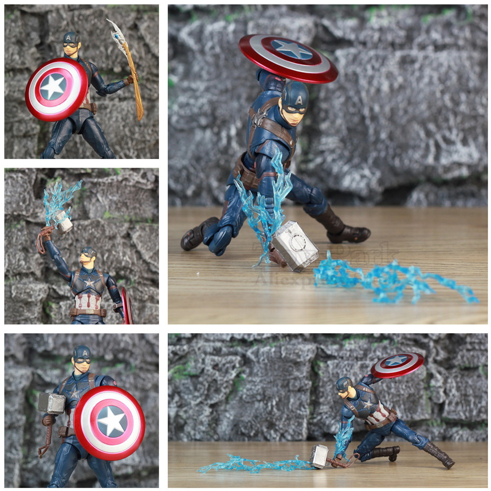 "Marvel Avengers Endgame Captain America 6"" Action Figure Movie Steven Rogers Legends Loki Scepter Wand Shield KO's SHF Toys Doll"