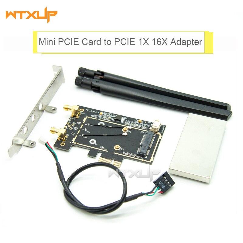 mini PCI-E pcie wifi card to Desktop PCIE PCI-Express Wireless Bluetooth Adapter Converter 2 X antenna for Intel 7260 3160 AC(China)