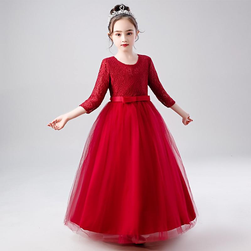 Длинное красное платье с цветочным принтом для девочек, простое платье для девочек 4, 6, 8, 10, 12, 14, 16 лет, Рождественская Детская одежда, OKF204001