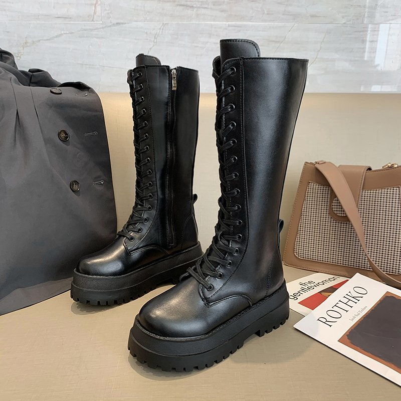 Women Combat Boots Antumn 2020 Female High Platform Gothic Shoes Black Leather Boots Lace Up Women Knee High Boots