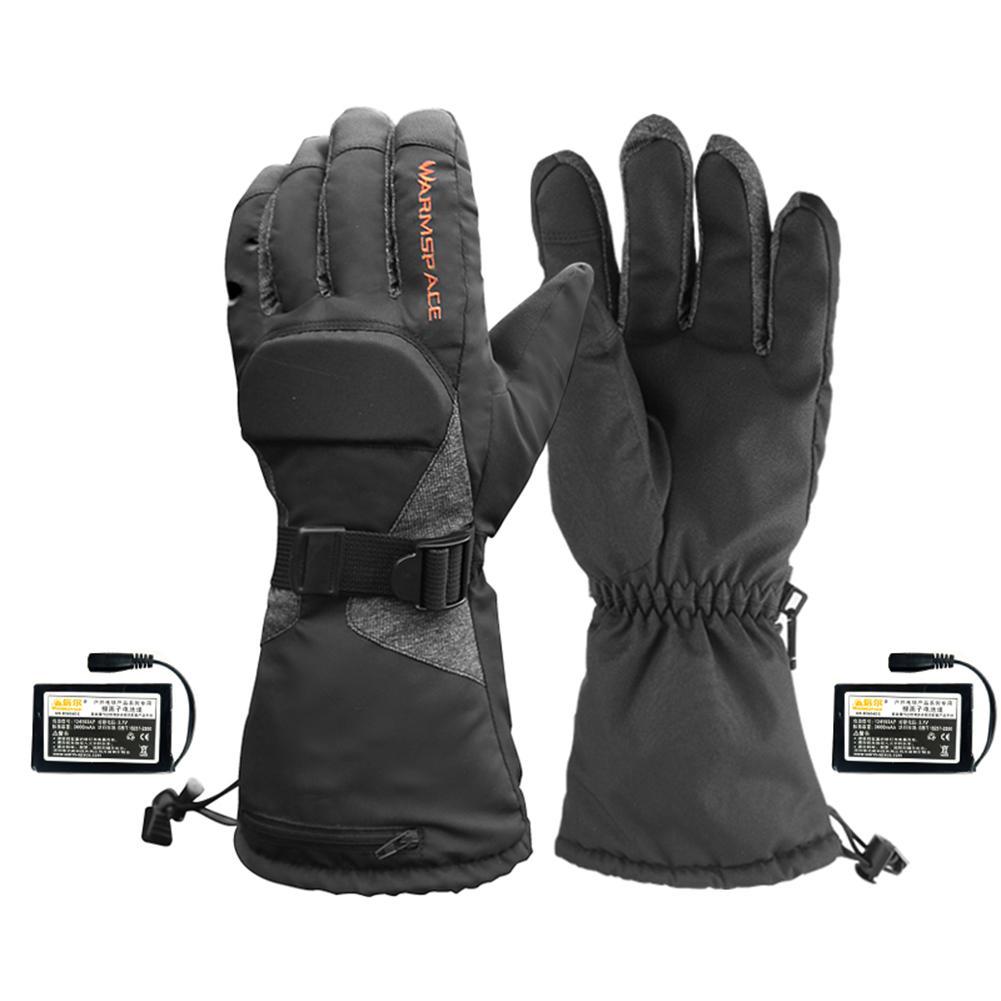 Spor ve Eğlence'ten Bisiklet Eldivenleri'de Isıtmalı eldiven akülü ısı eldivenleri su geçirmez kış termal eldiven sıcak dokunmatik eldiven açık spor bisiklet title=