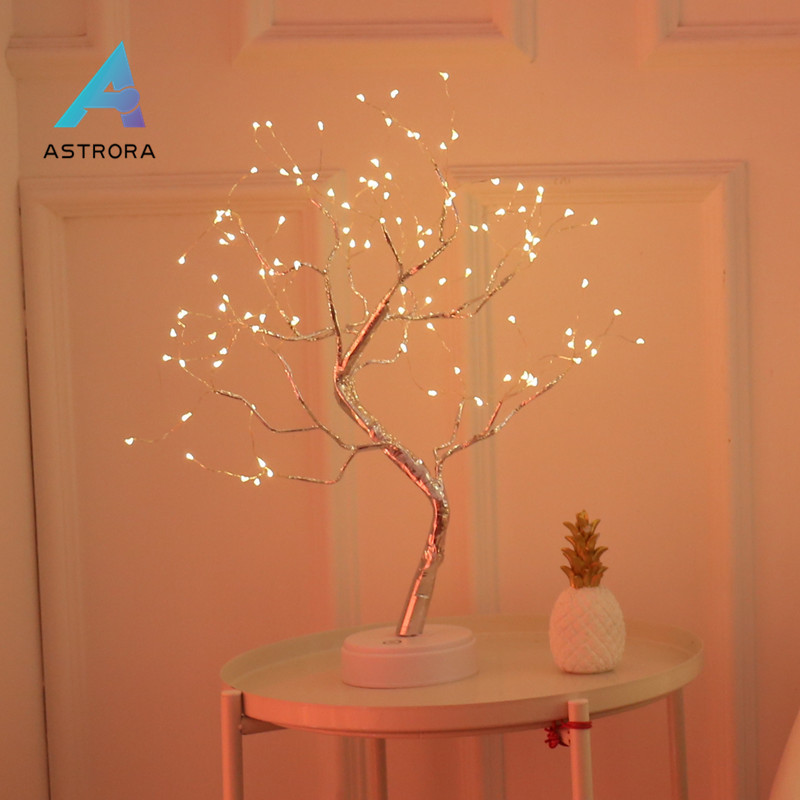 ASTRORA Christmas Copper Wire Branch Tree Night Light Touch Switch LED Night Lamp Wedding Sign Living Room Bedroom