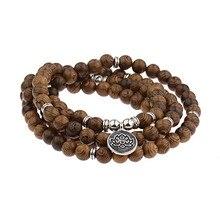 8 mm 108 Natural Sandalwood Lotus Rosary Bracelets Men Women Jewelry Buddha Prayer pulsera hombre  Wood Beads Vintage Bracelet