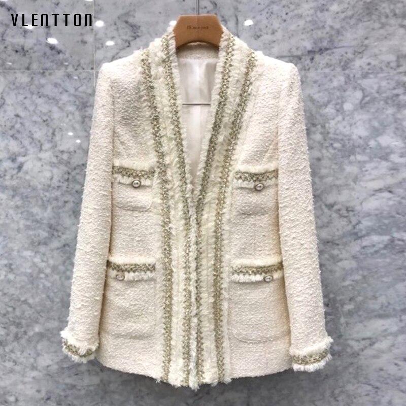 Autumn Winter Sexy V-neck Chic Pearls Tweed Jacket Blazer Women Vintage Suit Coat Female Outwear Office Ladies Blazers Feminino