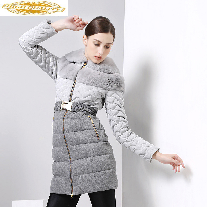 Long Winter Duck Down Jacket Women Big Rex Rabbit Fur Collar Elegant Down Coat Female Jacket High Quality Jackets MY8512 KJ2606