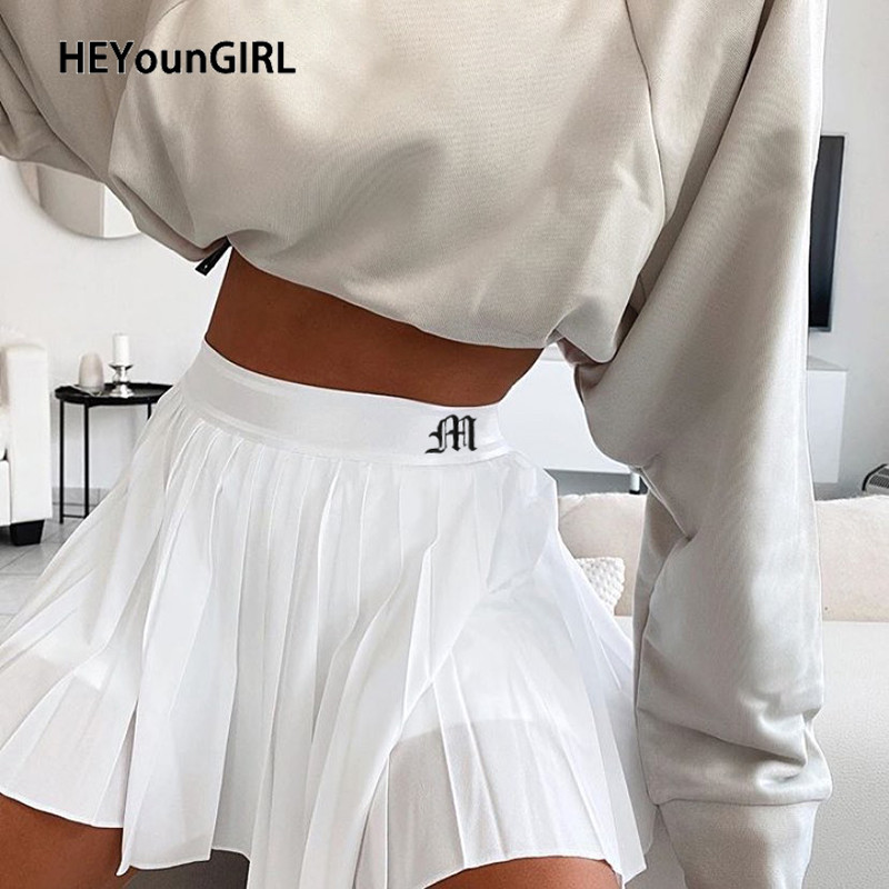 HEYounGIRL Casual White Mini Pleated Skirts Shorts Letter Print High Waisted Short Skirt Korean Preppy Style Summer Dance 2020 1