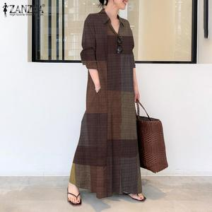 ZANZEA 2021 Kaftan Spring Shirt Dress Women's Check Sundress Button Maxi Vestidos Female Lapel Casual Robe Femme Plus Size