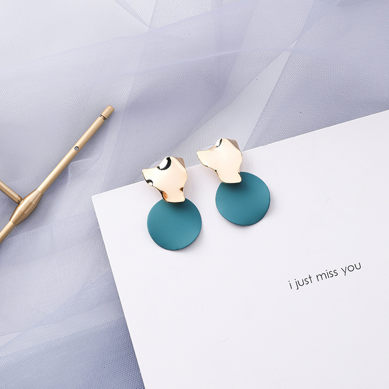 H011991ec20dd4506a42b4d03161878c80 - Summer Blue Geometric Acrylic Irregular Hollow Circle Round Square Drop Earrings for Women Metal Bump Party Beach Jewelry
