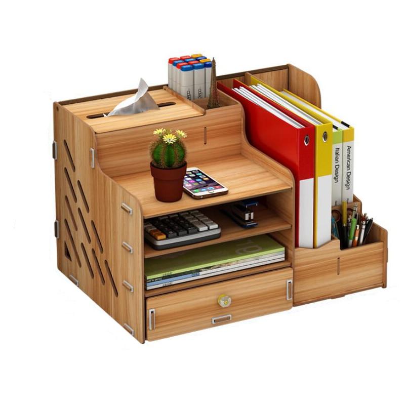 DIY Wood Desk Set Office Book Desktop Paper Folder Storage Box With Drawer Book Stand Rack Wooden