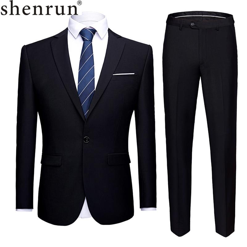 Shenrun Men Suits 2 Pieces Jacket Pants Business Uniform Office Suit Wedding Groom Tuexdo Slim Fit Single Button Casual Formal