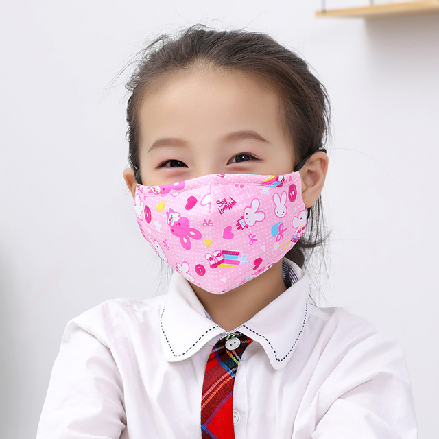 Kids Children Cotton Anti-Dust Face Mouth Mask Cartoon PM2.5 Protective Respirator Reusable Anti Fog Anti Flu Masks with Filters 3