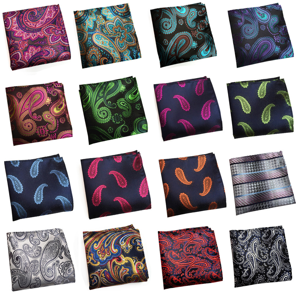 Mens Stylish Pocket Square Colorful Paisley Hanky Wedding Party Handkerchief