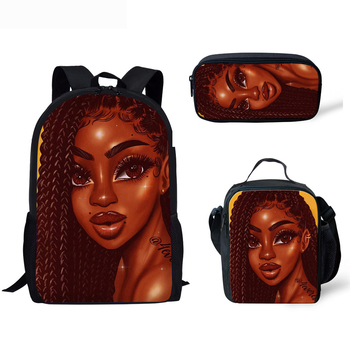 3pcs/set  African American Girl School Bags Set for Teenage Girls  1