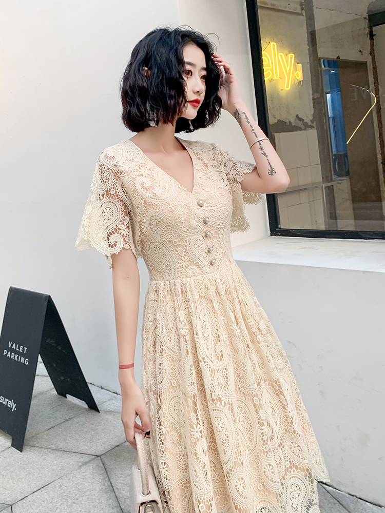 Hot DealsπProm-Dress Short-Sleeves Champagne Elegant Yin Cheap Wei Lace AE0443 Bateau-Neck Roeb-De-Soriee