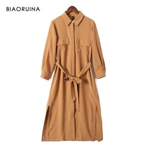 Image 2 - Biaoruina 女性固体エレガントなトウェディングドレスミッドカーフ長女性カジュアルサイドスプリットドレス女性のヴィンテージ a ラインドレス
