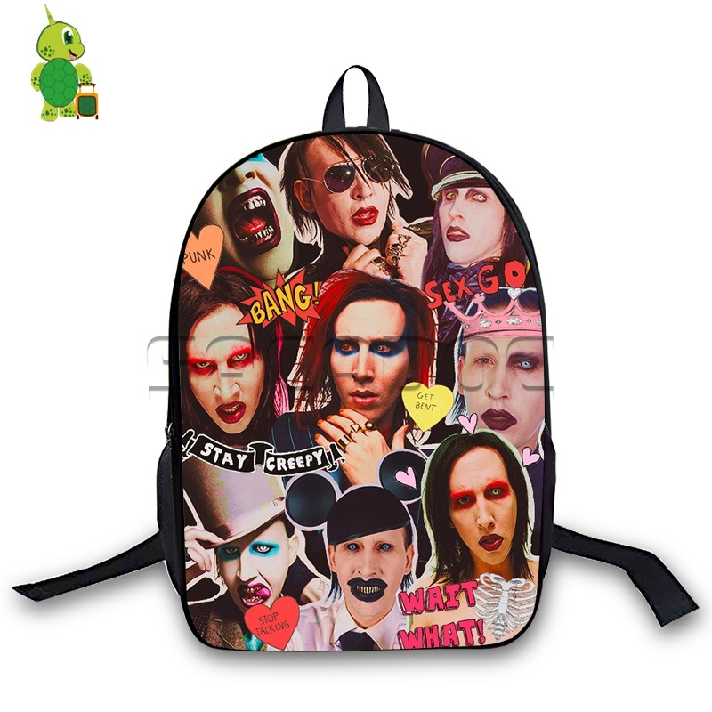 Marilyn Manson Rock Star Collages Backpack Children School Bags Laptop Backpack For Teenage Girls Boys Casual Travel Bags