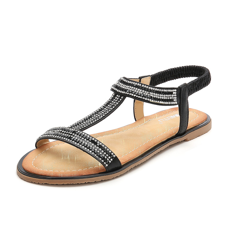 Diamond Beads Gladiator Sandals Women Fashion Party Wedding Comfort Wedges Shoes for Women Med Heels Rome Sandalias X6X1060