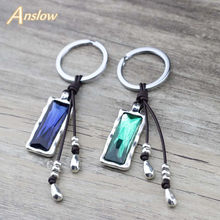 Anslow Brand Wholesale Jewelry Crystal Handmade Leather Handbag Key Chains Rings For Women Female Key Accessories LOW0016KY(China)
