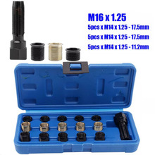 купить 16pcs/Set Carbon Steel Spark Plug Thread Repair Rethreading Tool Kit M16 Threaded Coil Insert car accessories недорого