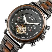 BOBO BIRD Mechanical Watch Men Wood Automatic Wristwatch Mans механизм для часов montre forsining Christmas present Waterproof