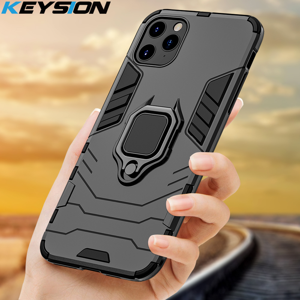 KEYSION Shockproof <font><b>Armor</b></font> <font><b>Case</b></font> <font><b>For</b></font> <font><b>iPhone</b></font> 11 Pro 11 Pro <font><b>Max</b></font> Anti-fall Phone Back Cover <font><b>for</b></font> Apple <font><b>iPhone</b></font> 11 <font><b>Xs</b></font> <font><b>Max</b></font> 6S 7 8 Plus XR image
