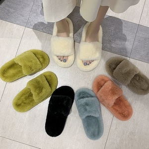 vertvie Faux Fur Home Slippers Fluffy Women Shoes Slides Comfort Furry Flat Sandals Female Indoor Slippers Woman Flip Flops