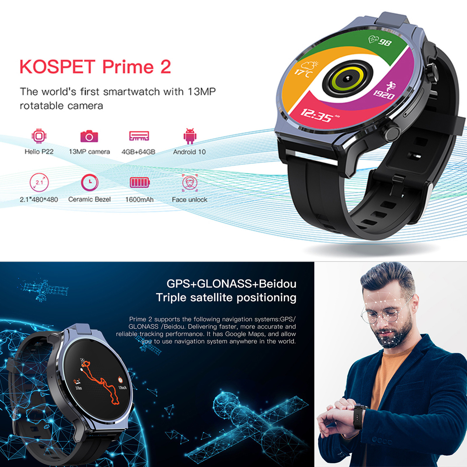 Smart-Watch Rotatable-Camera Bluetooth Kospet-Prime Phone-2.1inch 13MP 480x480-Screen