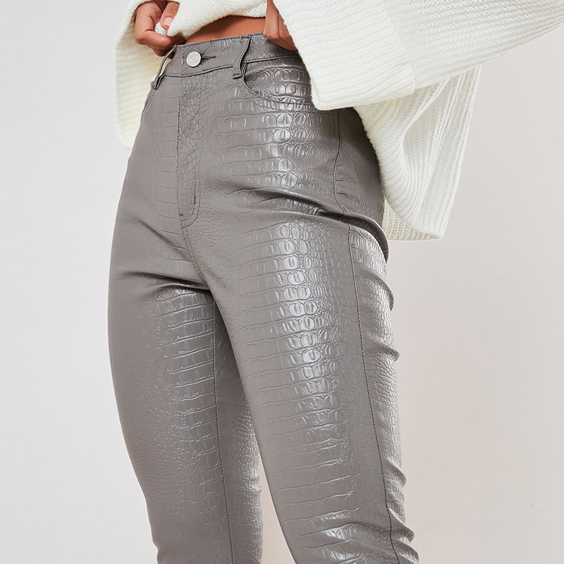 InstaHot Black High Waist Pencil Faux Leather Pants Women Casual Elegant Carving Print Ankle Length Pants