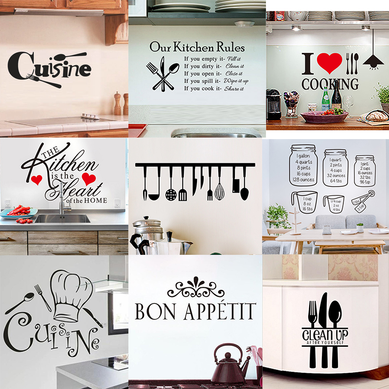 Kitchen Wall Stickers Vinyl Decals, Wall Decor Stickers For Dining Room