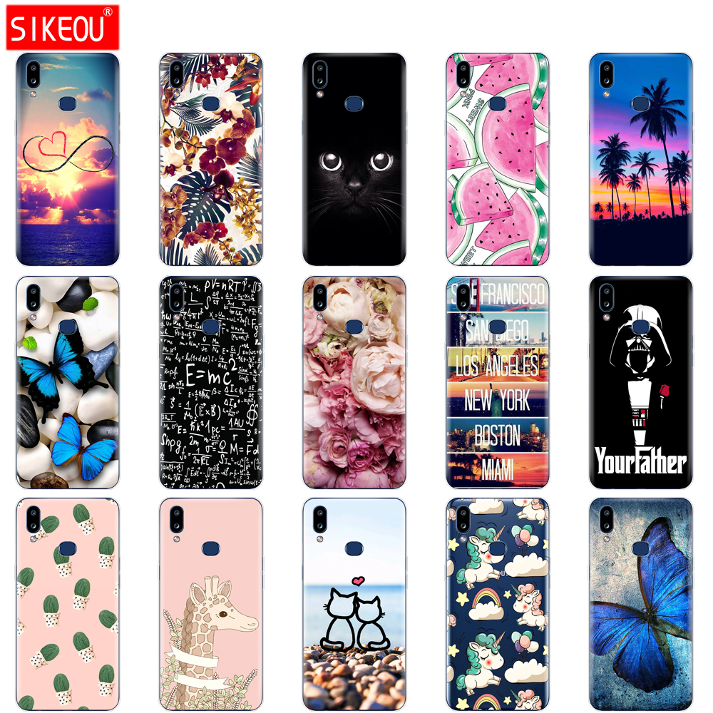 Case For Samsung A10S Case Soft Silicon Back Cover Phone Case For Samsung Galaxy A10S GalaxyA10S A 10S <font><b>A107F</b></font> Cat flower image