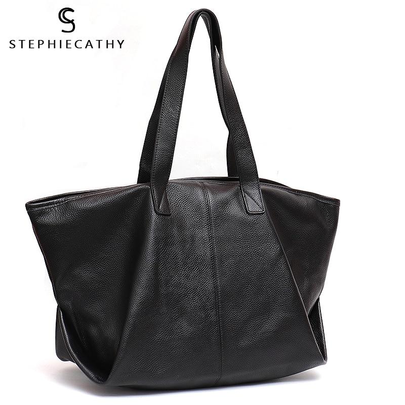 SC Casual Fashion Leather Tote Bag For Women Litchi Pattern Cow Leather Ladies Large Shoulder Bag Female Soft Handbag Hobo Purse