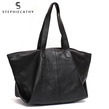 SC Casual Fashion Leather Tote Bag For Women Litchi Pattern Cow Leather Ladies Large Shoulder Bag Female Soft Handbag Hobo Purse